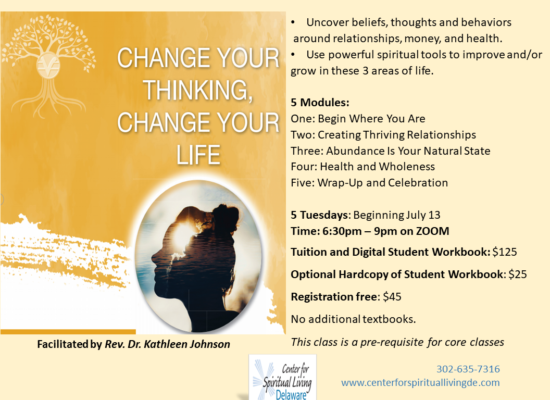 Change Your Thinking Change Your Life class flyer